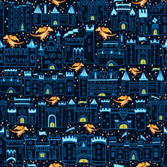Seamless Vector Fantasy Dragon Dreams Starry Night Sky Castle Print in Navy, Royal Blue, & Orange