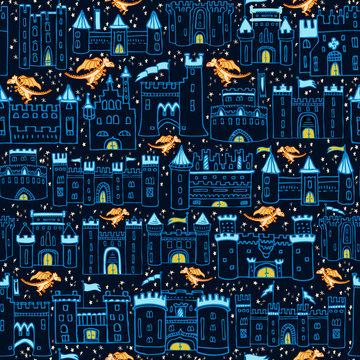 Seamless Vector Fantasy Dragon Dreams Starry Night Sky Castle Print in Navy, Royal Blue, & Orange