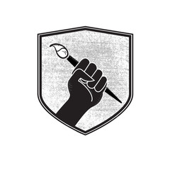 Vector Make Art Not War Artist Fist in Military Badge Holding Paint Brush in Black and White