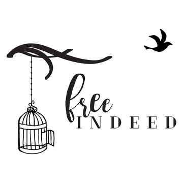 Vector Free Indeed Design with Tree Branches, Bird Cage, and Flying Bird with Text in Black & White.