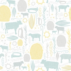 Seamless Vector Vintage Farmhouse Baby Print with Little Boy Blue Nursery Rhyme in Neutral Colors