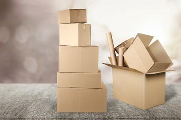 Cardboard boxes on desk