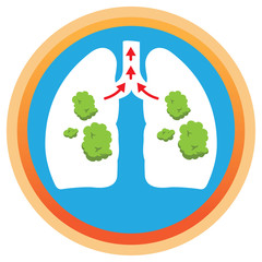 Illustration depicts a lung with phlegm, mucus being spelled. Ideal for health and institutional information