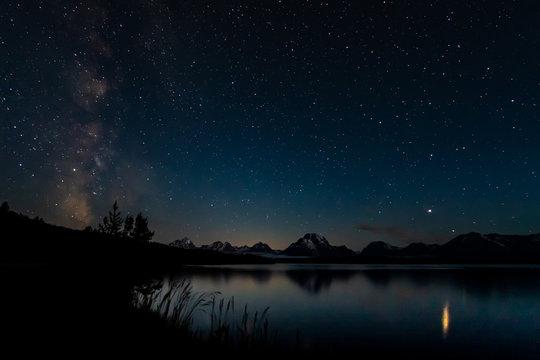 Milky Way and Stars Over Tetons Range