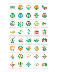 harvest plant nature natural agriculture image vector logo icon set