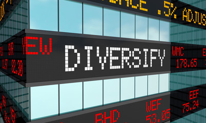 Diversify Your Equities Investment Safe Strategy Stock Market Ticker 3d Illustration