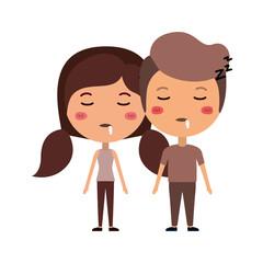 cartoon asleep couple kawaii characters
