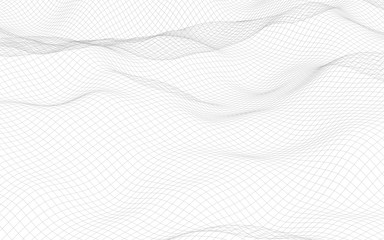 Abstract landscape on a white background. Cyberspace grid. Hi-tech network. 3D illustration