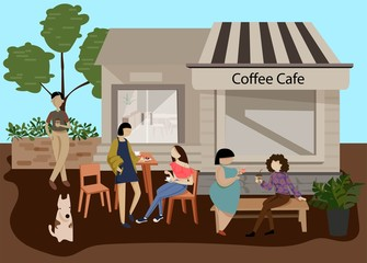 Peoples relax on coffee shop