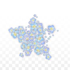 Blue Vector Realistic Blue Petals Falling on Transparent Background.  Spring Romantic Flowers Illustration. Flying Petals. Sakura Spa Design. Blossom Confetti. Design Elements for Wedding Decoration.