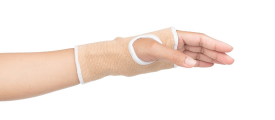 Medicine bandage on human hand isolated with clipping path