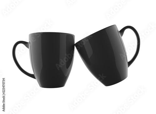 2569cb2b7b1 Two Shiny and Black Coffee Mug Mockup 3D Rendered and Isolated ...