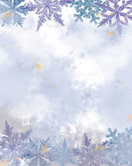 Snowflake Decorated Watercolor Textured Surface. Great for a template, Letterhead, Announcement, Advertisement, Card, and any Decorative Printable.