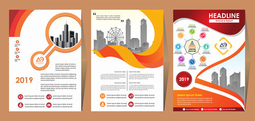 Front and back cover of a modern business brochure layout or flyer template, poster, magazine, annual report, book, booklet with red circle and gray design. Size A4