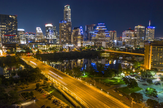 Downtown Austin Texas Skyline Night Long Exposure Aerial Photo