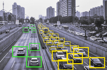 AI Machine Learning  to Identify  Objects technology, Traffic intelligence control system concept. Traffic Jam