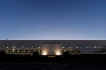 SpaceX headquarters is shown in Hawthorne, California.