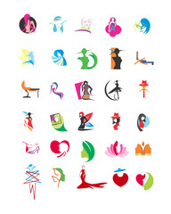 variation mixed feminine female image vector icon logo symbol set