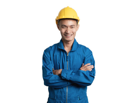 Headshot Asian engineer young man smile in blue suit.