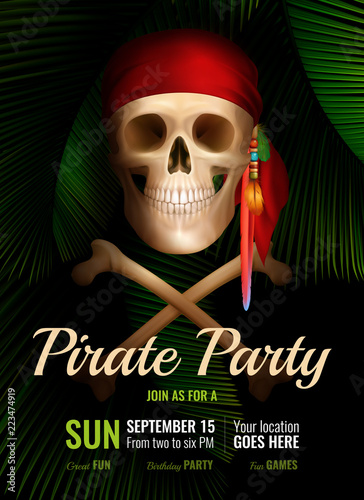 Pirate Party Realistic Poster