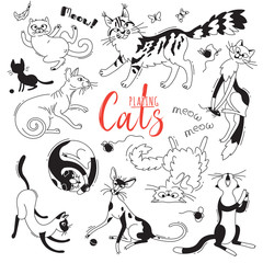 Set with playing cats of different breeds. Characters cat in the style of doodle cartoon. Vector illustration