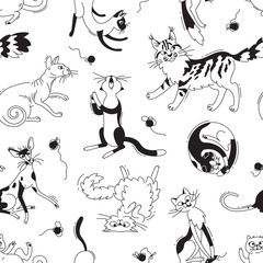 Seamless pattern with playing cats of different breeds and skeins of yarn. Cat in the style doodle cartoon. Vector background