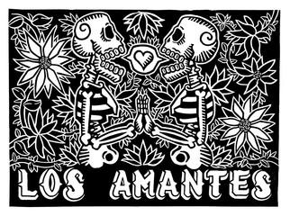 Calaveras con flores, Grabado en linóleo, ilustración tradicional de México a blanco y negro