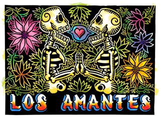 Calaveras con flores, Grabado en linóleo, ilustración tradicional de México a Color