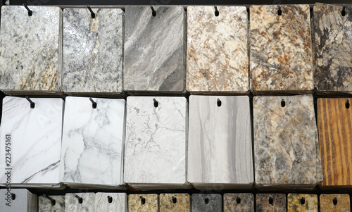 hanging granite color and pattern samples in the store