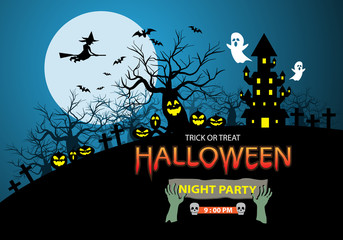 Happy Halloween night party holiday celebration festival poster design on blue moon vector illustration.