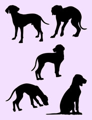 Viszla dog silhouette 03. Good use for symbol, logo, web icon, mascot, sign, or any design you want.
