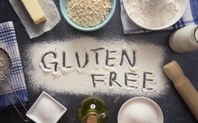 Gluten Free Baking Background on a Dark Slate Tabletop