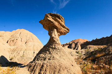 Balanced rock in badlands national park, south dakota.