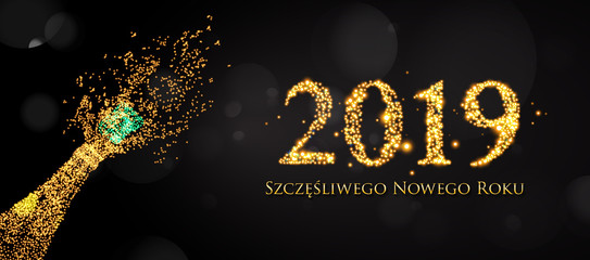 (Szczęśliwego Nowego Roku 2019) New Years 2019. Happy New Year greeting card.