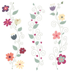 Three Colorful Floral Borders