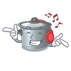 Listening music cartoon stock pot used cooking food