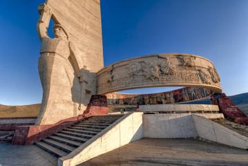 Das Zaisan-Denkmal, eine Gedenkstätte der ehemaligen UdSSR zu Ehren gefallener Soldaten im Süden von Ulan Bator, der Hauptstadt der Mongolei