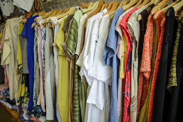 pattern of dresses in a shop, colorful dresses.