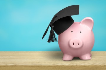 Piggy Bank with Black Graduation Hat on