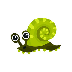 Green sea snail with big shiny eyes. Adorable marine animal. Flat vector element for children book or kids t-shirt print