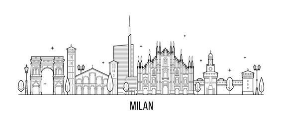 Wall Mural - Milan skyline Italy city buildings vector line art