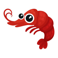 Adorable red shrimp with big shiny eyes. Small marine creature. Sea life. Flat vector for mobile game or children book