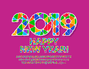 Vector Colorful Happy New Year 2019 Greeting Card. Bright Alphabet letters, Symbols and Numbers. Mosaic Font