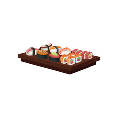 Set of tasty sushi rolls on wooden plate. Traditional Japanese food. Asian cuisine theme. Flat vector design