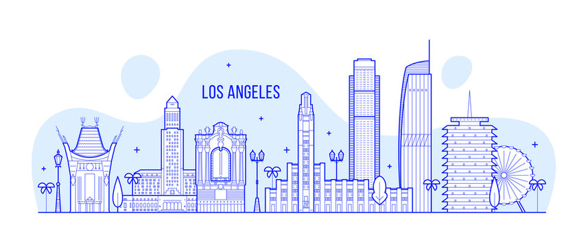 Los Angeles skyline USA city buildings Vector