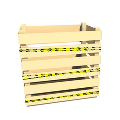 Physical hazards. Caution tape. Wooden container. Box for storage and transportation. Vector illustration.