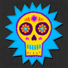 Skull Candy vector illustration, day of the dead floral elements hand craftsmanship style