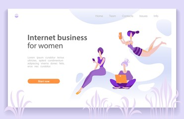 Internet business for women page template, vector