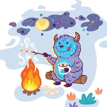 Bigfoot roasts marshmallows over a campfire. Vector illustration in cartoon style