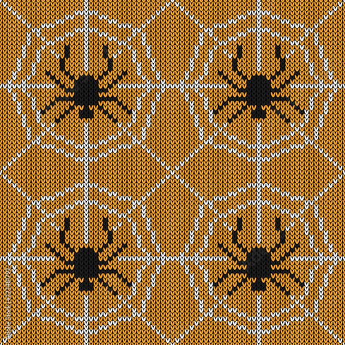 Halloween Knitted Pattern Seamless Knitting Texture With Spider And